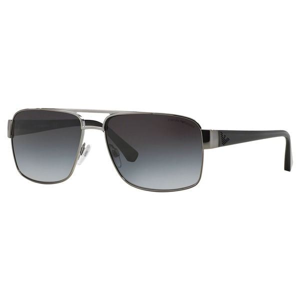 b5ad77d3993 Shop Emporio Armani Men s EA2002 Metal Rectangle Sunglasses - Grey Silver -  Free Shipping Today - Overstock - 10324637