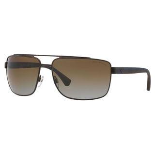 Emporio Armani Men's EA2018 Metal Square Polarized Sunglasses