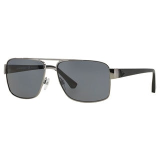 Emporio Armani Men's EA2002 Metal Rectangle Polarized Sunglasses
