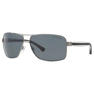 Emporio Armani Men's EA2001 Metal Rectangle Polarized Sunglasses
