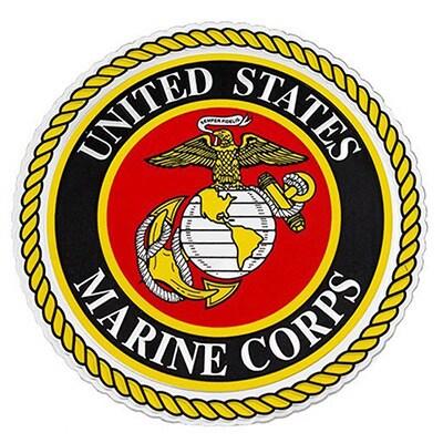 Rush Industries US Marine Corps Logo Car Decal (Black)