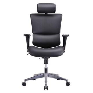GM Seating Genuine Leather Dream Executive Human Ergonomic Chair with Headrest Chrome Base