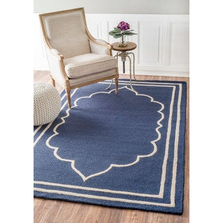 nuLOOM Handmade Abstract Fancy Border Wool Blue/ Grey Rug (5' x 8')