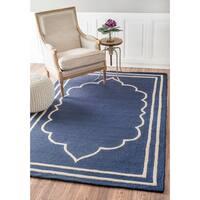 nuLOOM Handmade Abstract Fancy Border Wool Blue/ Grey Rug (5' x 8')