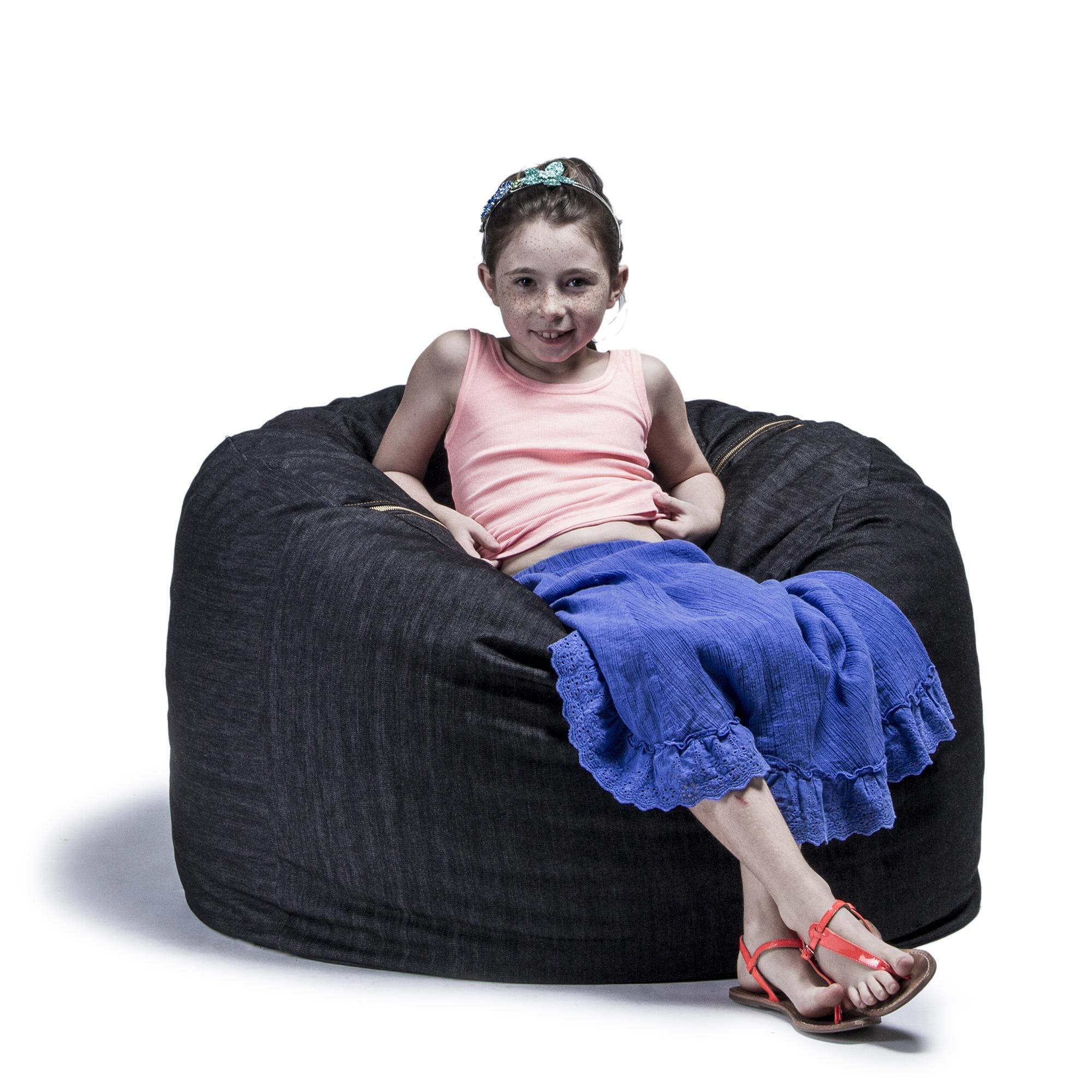 Denim Bean Bag Chair Shredded Foam Fill Seat Removable Cover Machine  Washable 3u0027
