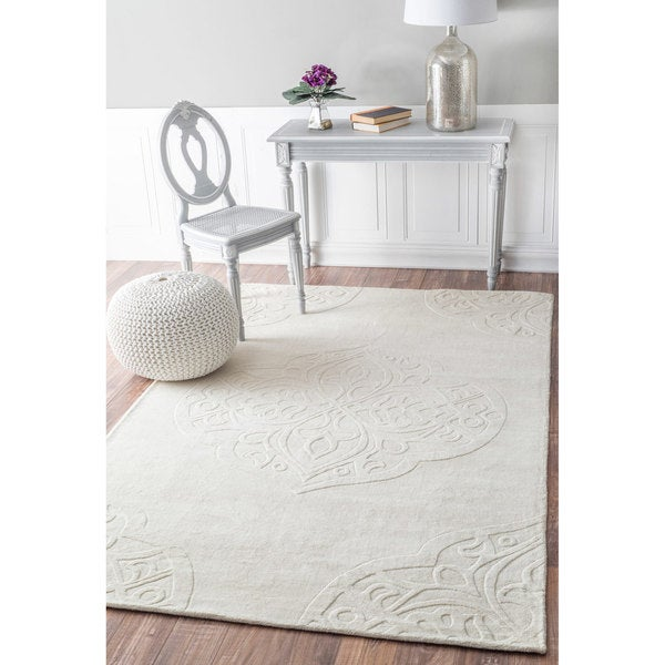 Nuloom Hand Woven Abstract Fancy Wool Ivory Grey Rug 7 6