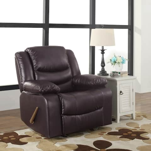 Deluxe Overstuffed Rocking Recliner Chair, PU Leather