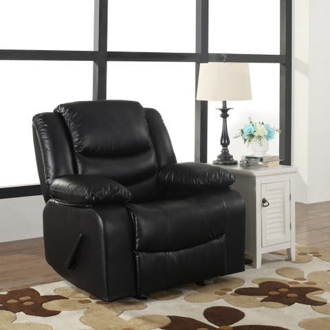 Bonded Leather Deluxe Overstuffed Rocking Recliner Chair