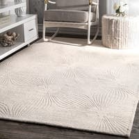 "nuLOOM Hand-woven Abstract Fancy Wool Ivory/ Grey Rug (7'6 x 9'6) - 7'6"" x 9'6"""