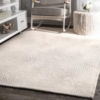 nuLOOM Hand-woven Abstract Fancy Wool Ivory/ Grey Rug (5' x 8') - 5' x 8'