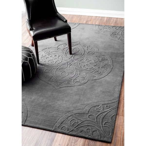 Nuloom Hand Woven Abstract Fancy Wool Ivory Grey Rug 5