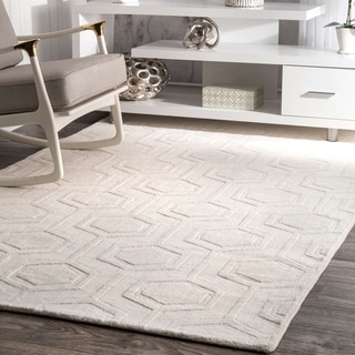 NuLOOM Hand Woven Abstract Fancy Wool Blue/ Grey Rug (5u0027 X 8