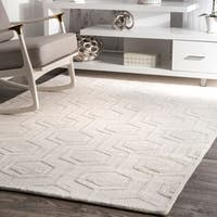 nuLOOM Hand-woven Abstract Fancy Wool Blue/ Grey Rug (7'6 x 9'6) - 7'6 x 9'6