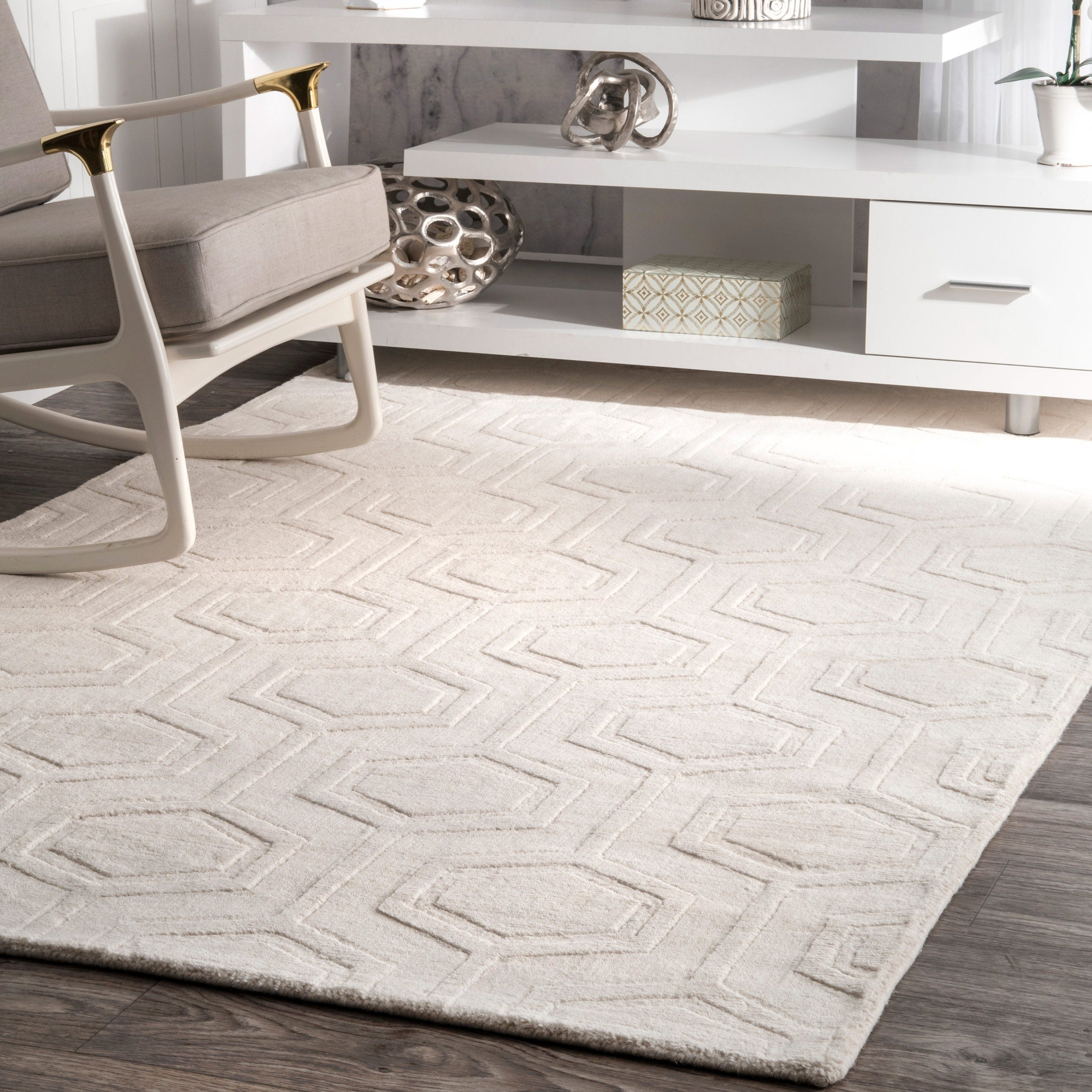 nuLOOM Hand-woven Abstract Fancy Wool Blue/ Grey Rug (5' ...