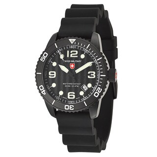 Swiss Military Men's 'marlin' Black Stainless Steel Swiss Quartz Watch