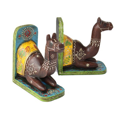 "Handmade Camel Bookend Pair (India) - 8""H x 6""L x 4""W"