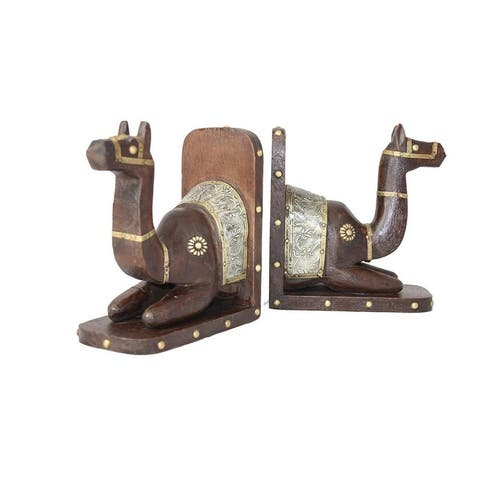 "Handamde Camel Bookend Pair (India) - 8""H x 6""L x 4""W"