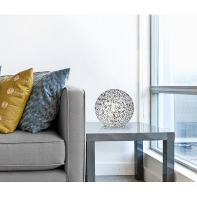 Elegant Designs Crystal Ball Sequin Chrome Table Lamp