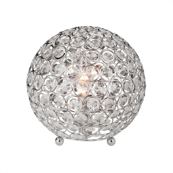 Elegant Designs Crystal Ball Sequin Chrome Table Lamp