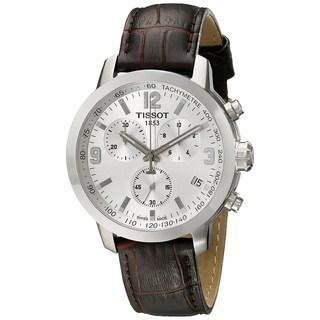 Tissot Men's T0554171603700 'PRC 200' Chronograph Brown Leather Watch