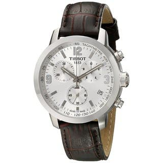 Tissot Men's T0554171603700 'PRC 200' Chronograph Brown Leather Watch|https://ak1.ostkcdn.com/images/products/10325044/P17435654.jpg?impolicy=medium