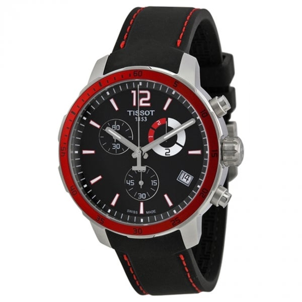 Tissot Men's T0954491705701 'Quickster' Chronograph Black Silicone Watch. Opens flyout.