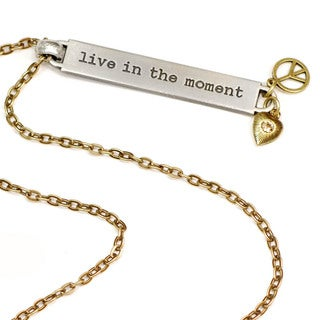 Sweet Romance Motivational Quote 'live in the moment' Inspiration Necklace