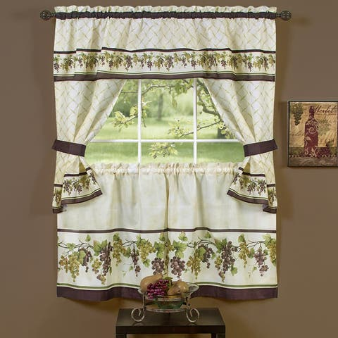 Complete Cottage Curtain Set with an Antique and Aubergine Grapvine Print - 36 inch