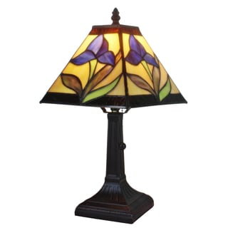 Amora Lighting Tiffany Style Mission Design Mini Table Lamp Purple
