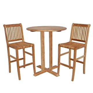 Savannah Collection 3-Piece Teak Bistro Pub Set