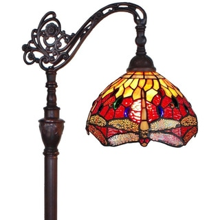 Amora Lighting Tiffany Style Red Dragonfly Reading Floor Lamp