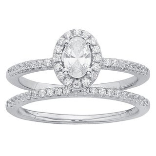 Divina Sterling Silver Cubic Zirconia Wedding Ring Set
