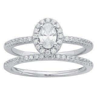 Divina Sterling Silver Cubic Zirconia Wedding Ring Set