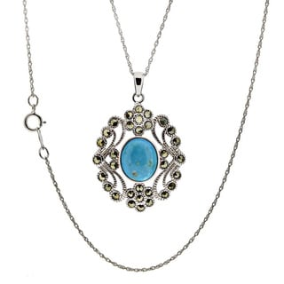 Sterling Silver Turquoise and Marcasite Pendant Necklace