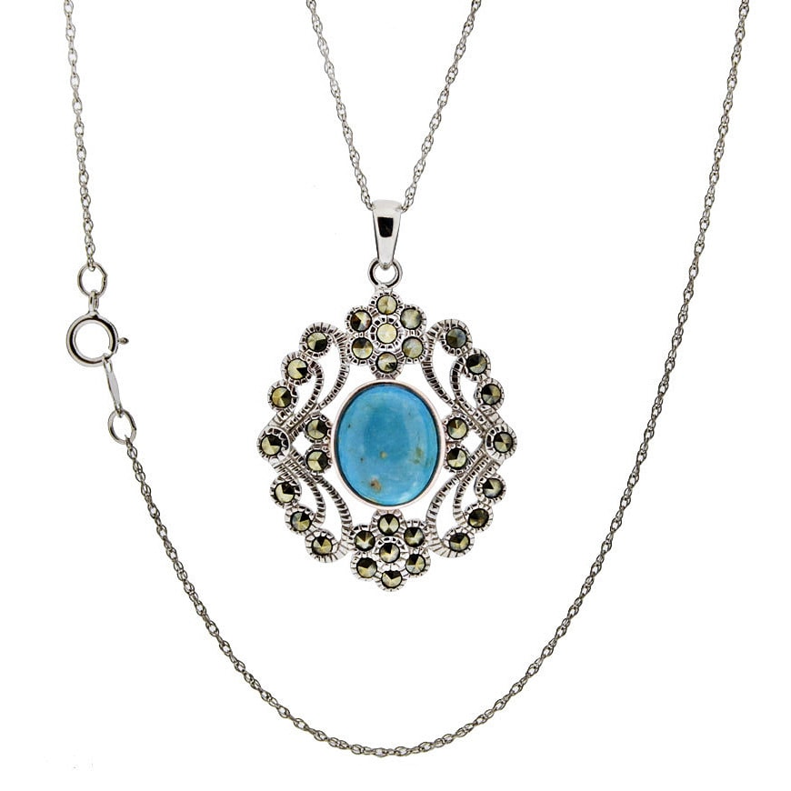 Sterling silver turquoise and marcasite pendant necklace ebay sterling silver turquoise and marcasite pendant necklace aloadofball Images
