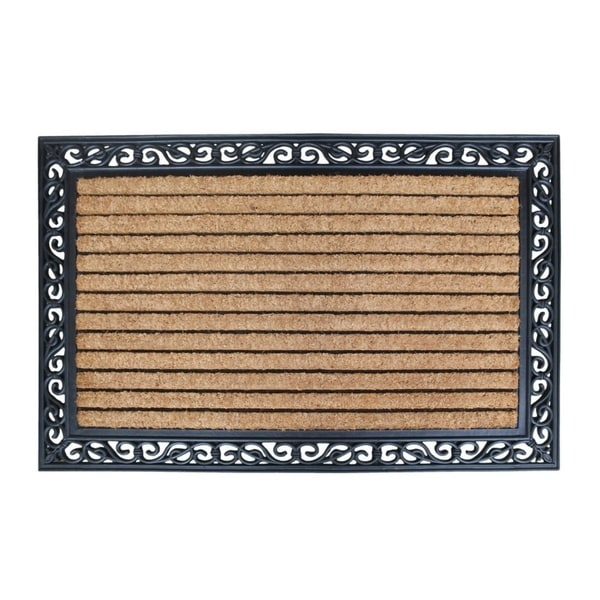 shop first impressionmolded large double door rubber and coir door mat 3 39 x 4 39 free shipping. Black Bedroom Furniture Sets. Home Design Ideas