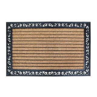 First ImpressionMolded Large Double Door Rubber and Coir Door Mat (3' x 4')