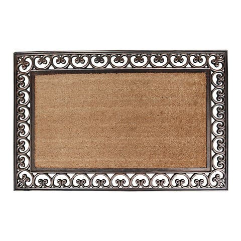 "First Impression Hand Finished Rubber and Coir Classic Paisley Border Extra Large Double Doormat - 30"" X 48"""