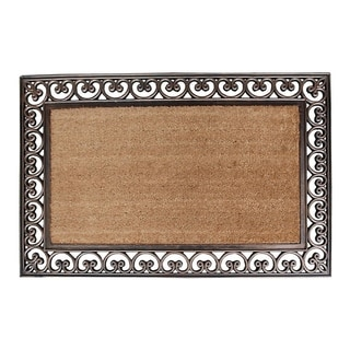 First Impression Hand Finished Rubber and Coir Classic Paisley Border Extra Large Double Doormat (2'6 x 4')