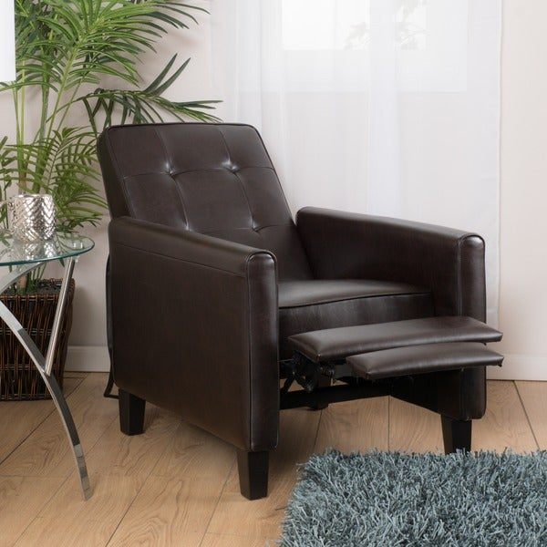 Ethan Tufted Bonded Leather Recliner Chair By Christopher Knight Home