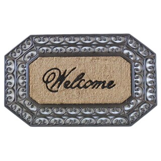 First Impression Large Hexagon Rubber and Coir Hand Finished Unique Brush Doormat (1'11 x 3'2)