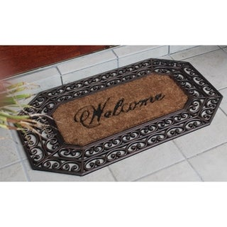 First Impression Large Hexagon Rubber and Coir Brush Doormat (1'11 x 3'2)
