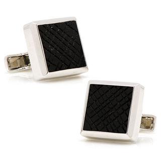 Sterling Silver Onyx Etched Plaid Cufflinks