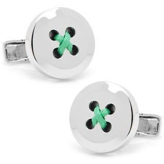 Sterling Silver Button Cufflinks with Green Thread