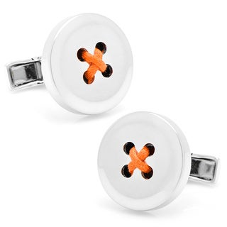 Sterling Silver Button Cufflinks with Orange Thread