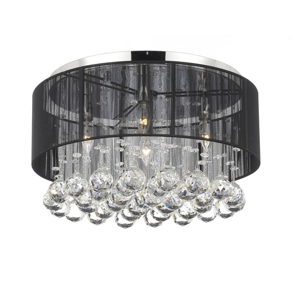 Chrome Flush Mount 4 Ight Chandelier With Large Black Shade And Crystal