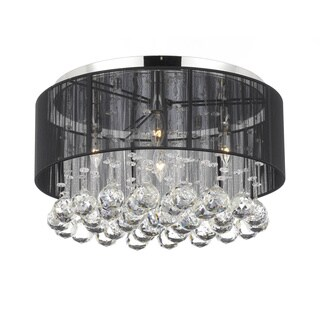 Chrome Flush Mount 4-ight Chandelier with Large Black Shade and Crystal Balls