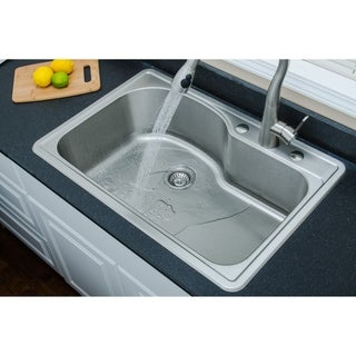 Wells Sinkware 18 Gauge Offset Single Bowl Topmount Stainless Steel Kitchen Sink Package