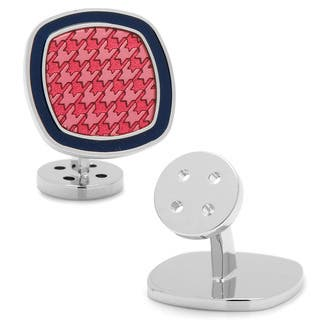 Palladium Pink and Navy Houndstooth Cufflinks|https://ak1.ostkcdn.com/images/products/10325422/P17435994.jpg?impolicy=medium