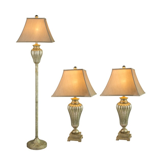 Fangio Lightings Silver Metal and Glass 3-Piece Lamp Set